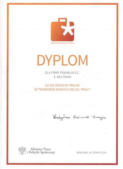 2014---dyplom-od-ministra-pracy-i-polityki-spo-ecznej-za-wk-ad-w-tworzenie-miejsc-rpacy